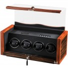 Volta 4 Watch Winder - Ebony Rosewood Finish Black Leather Interior