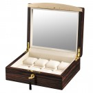 Volta Ebony Wood 8 Watch Case w/ See Through Top  w/ Gold Accents and Cream Leather Interior