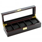 Diplomat 5 Watch Case -  Ebony Wood / Black Leatherette Interior / Locking Lid