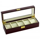 Diplomat 5 Watch Case -  Cherry Wood / Cream Leather / Locking Lid