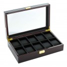 Diplomat 10 Watch Case -  Ebony Wood / Cream Suede Interior /  Locking Lid