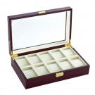 Diplomat 10 Watch Case - Cherry Wood / Black Suede Interior / Locking Lid