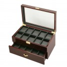 Diplomat 20 Watch Case -  Ebony Wood  / Black Interior / Drawer & Locking Lid