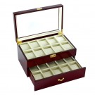 Diplomat 20 Watch Case - Cherry Wood / Cream Interior / Drawer & Locking Lid