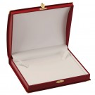 Necklace Box - Red Leatherette Finish with White Italian Interior