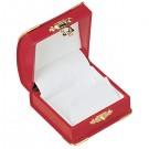 Earring/Pendant Box - Red Leatherette Finish with White Italian Interior
