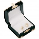 Earring/Pendant Box - Black Leatherette Finish with White Italian Interior