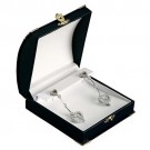 Drop Earring Box - Black Leatherette Finish with White Italian Interior