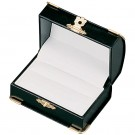Double Ring Slot Box - Black Leatherette Finish with White Italian Interior