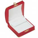 Clip Earring Box - Red Leatherette Finish with White Italian Interior