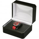 Single Watch Box - Black Leatherette Finish with Black Interior