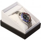 Single Watch Box  - Black Nabuka White Cardboard Finish w/ White Interior & Cushion Pillow
