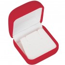 Earring Box - Red Flocked Finish with White Interior