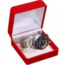 Watch Bangle Box - Red Flocked Finish with White Interior
