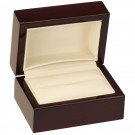 """Rodeo"" Double Ring Slot Box in Mahogany & Ivory Nabuka"