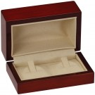"""Rodeo"" Double Ring Clip Box in Mahogany & Ivory Nabuka"