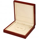 Pearl Earrings & Necklace Set Box- Mahogany Wood Grain Finish with Cream Interior