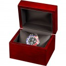 Single Watch Box - Cherry Wood Grain Finish w/ Black Interior & Cushion Pillow