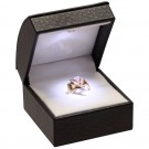 """Lumina Classica"" Ring Slot Box in Black Ostrich & Milkstone"