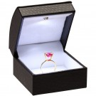 LED Light Single Ring Clip Box - Ostrich Leatherette with White Interior