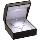 LED Light Earring/Pendant Box - Ostrich Leatherette with White Interior