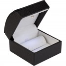 """Lumina Classica"" Stud Earring Box in Black Ostrich & Milkstone"
