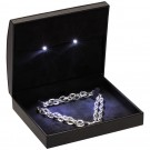 """Lumina Classica"" Medium Necklace Box in Black Ostrich & Obsidian"
