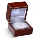 """Lumina Luxe"" Ring Slot Box in Mahogany & Milkstone"