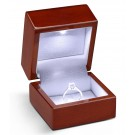"""Lumina Luxe"" Ring Clip Box in Mahogany & Milkstone"