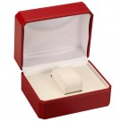 Single Watch Box - Red Leatherette Finish with White Interior