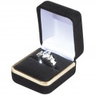 Single Ring Box - Black Velvet  Finish with Black Interior