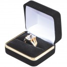 """Savannah"" Double Ring Slot Box in Black Velvet"