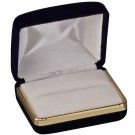 Double Ring Slot Box - Black Velvet & Gold Trim with White Interior