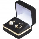 Earring Box - Black Velvet & Gold Trim Finish with Black Interior