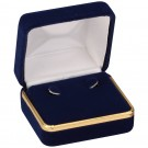 Earring Box - Blue Velvet & Gold Trim with White Interior
