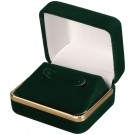 """Savannah"" Hoop Earring Box in Green Velvet"