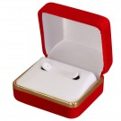 Velvet Large Earring Box- Red/White