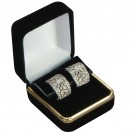 Clip Earring Box - Black Velvet & Gold Trim Finish with Black Interior