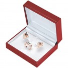 """Designer"" Ring + Earring Set Set Box in Coral & Diamond (2-Pc. Packer)"