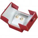 """Designer"" 2-Door Medium Stud Earring or Pendant Box in Coral & Diamond (2-Pc. Packer)"