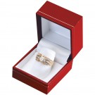 """Designer"" Ring Finger Box in Coral & Diamond (2-Pc. Packer)"