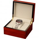 Single (1) Watch Box - Mahogany Wood Grain Finish with Cream Interior