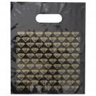 "Black/Gold Diamond ""Thank You"" Plastic Shopping Bag, 9.0"" x 11.0"""