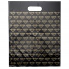 Shopping Bags w/Gold on Black Diamond Print, 12 x 15 in.