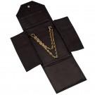 Leather Necklace Folder- Black/Black
