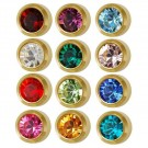 Regular 12-Month Birthstones Earring Studs (Gold Plated)