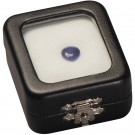 "Glass Top Gem Box - Black Leatherette w /Reversible White & Black Pad 2.25"" x 2.75"""