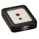 "Glass Top Gem Box - Black Leatherette Finish (With Reversible White/Black Pad) 2.5"" x 3.5"""