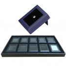 "10 Glass-Top Blue 2.88 x 2.25"" Glass-Top Gem Boxes w/Reversible Flat-Foam Inserts in Black Plastic Trays, 14.75"" L x 8.25"" W"
