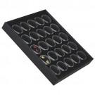 """25 Acrylic 1.13"""" Ø Gem Jars w/Black Flat-Foam Inserts in Black Wood Trays, 8.25"""" L x 7.25"""" W"""